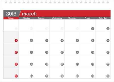 march 2013-planning calendar Vector