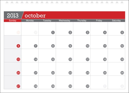 october 2013-planning calendar Illustration