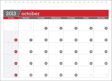 october 2013-planning calendar Illustration