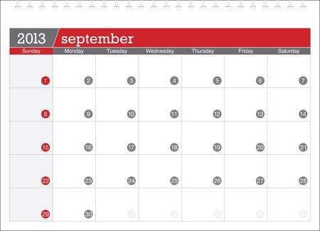 calendario septiembre: 09 2013-la planificaci�n del calendario Vectores