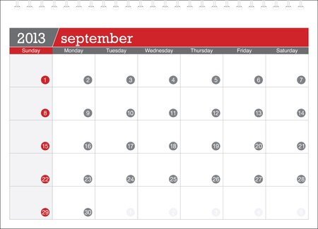 september 2013-planning calendar Illustration