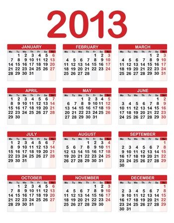 2013 Calendar Stock Vector - 16439776