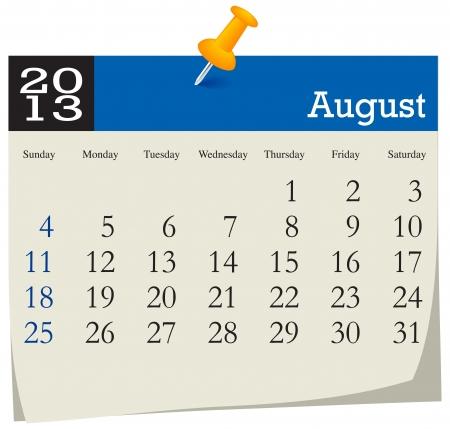 agosto: Agosto 2013 Calendario