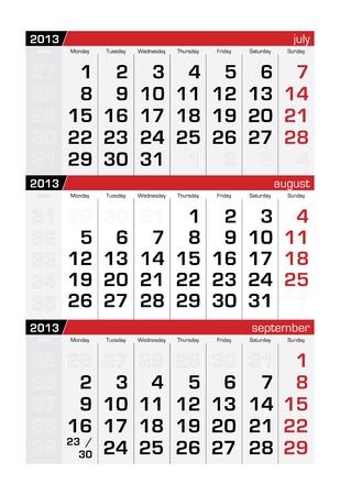 agosto: Agosto 2013 a tre mesi calendario Vettoriali