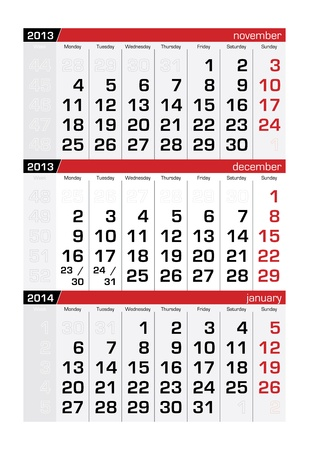 December 2013 Three-Month Calendar Vector