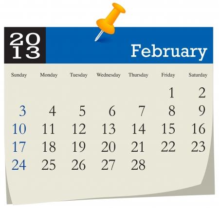 February 2013 Calendar Stock Vector - 16439798