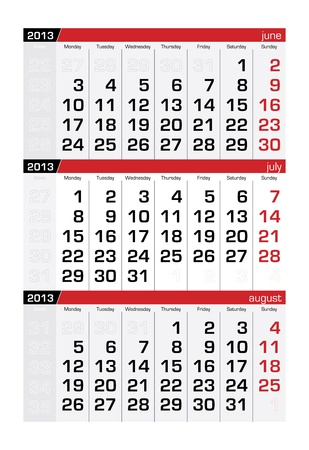 July 2013 Three-Month Calendar Vector