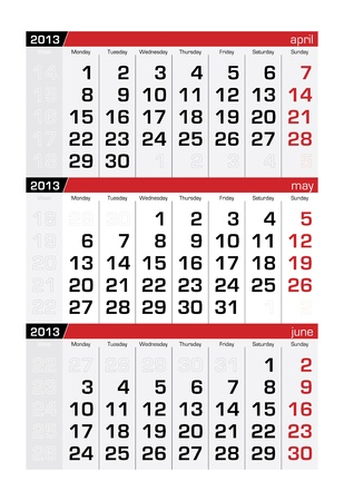 May 2013 Three-Month Calendar Vector