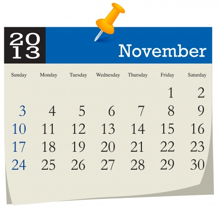 November 2013 Calendar Illustration