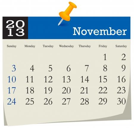 November 2013 Calendar Illustration