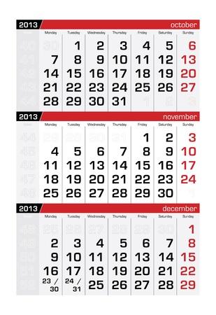 November 2013 Three-Month Calendar Vector