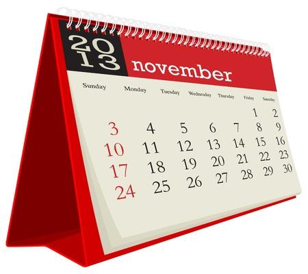 november desk calendar 2013 Vector