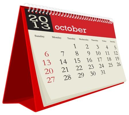 calendario da tavolo: ottobre calendario da tavolo 2013 Vettoriali