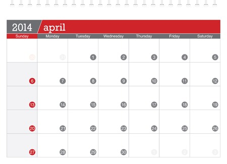 april 2014-planning calendar Illustration