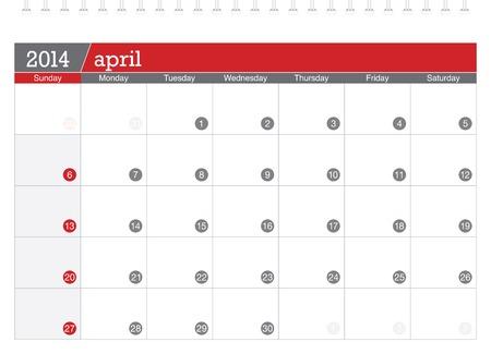 april 2014-planning calendar Illustration