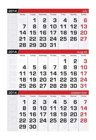 agosto: Agosto 2014 di tre mesi Calendar Vettoriali