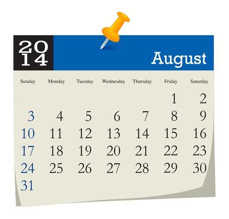 calendar 2014 august Stock Vector - 23768035