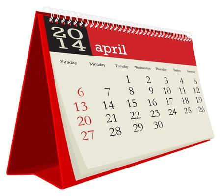 desk calendar 2014 april Illustration