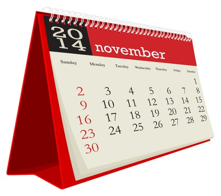 calendario da tavolo: scrivania calendario 2014 Novembre Vettoriali