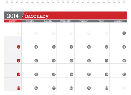 february 2014-planning calendar Illustration