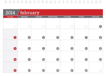 february 2014-planning calendar Illustration