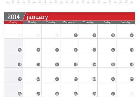 january 2014-planning calendar Illustration