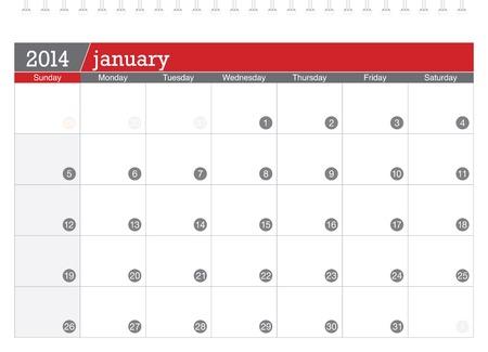 january 2014-planning calendar Illustration