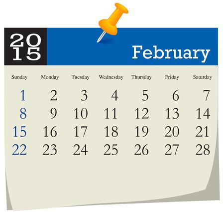 Calendar 2015 February Vector