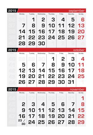 kalender oktober: 2015 Three-Month Calendar oktober