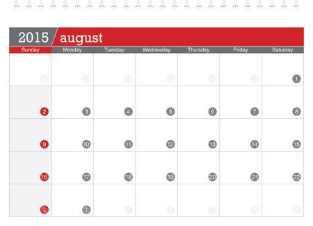 planificacion: 08 2015 calendario de planificaci�n Vectores