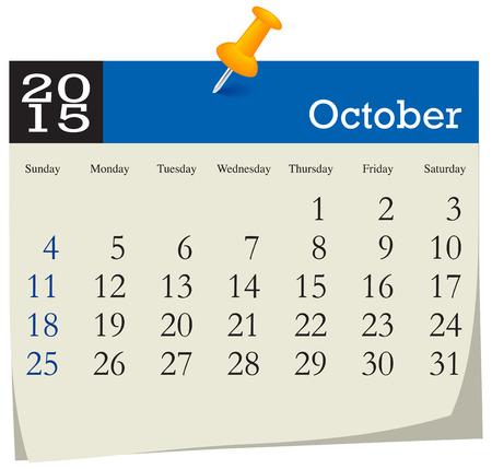 październik: Kalendarz 2015 październik Ilustracja