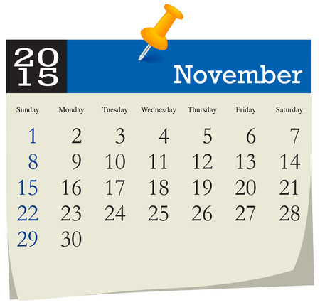 november: Calendar 2015 November Illustration