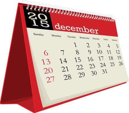 in december: desk calendar 2015 december Illustration