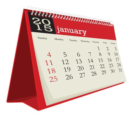 calendario da tavolo: calendario da tavolo 2015 gennaio Vettoriali