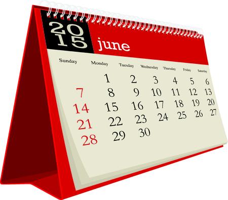 calendario da tavolo: scrivania civile 2015 giugno Vettoriali