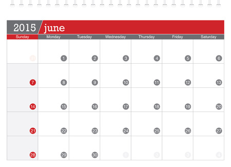 June 2015 planning calendar Vector