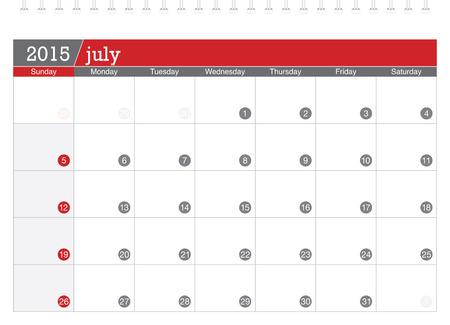 July 2015 planning calendar Vector