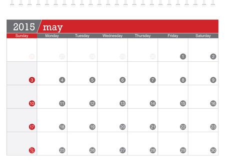 May 2015 planning calendar Vector
