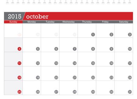 październik: Październik 2015 kalendarz planowania Ilustracja