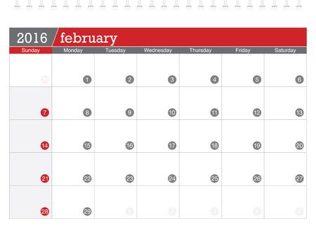 planning calendar: February 2016 planning calendar Illustration
