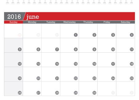 planning calendar: June 2016 planning calendar Illustration
