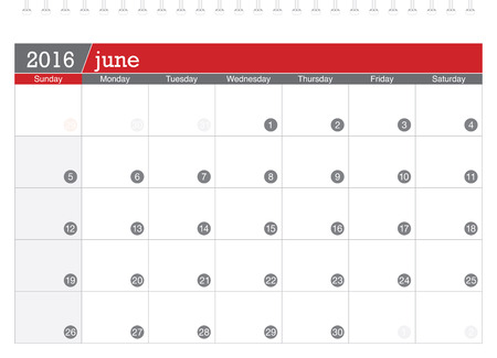 june: June 2016 planning calendar Illustration