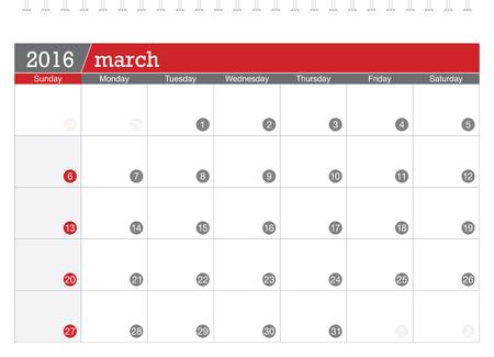 planning calendar: March 2016 planning calendar Illustration