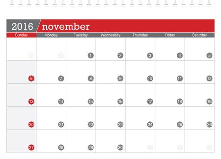 planning calendar: November 2016 planning calendar