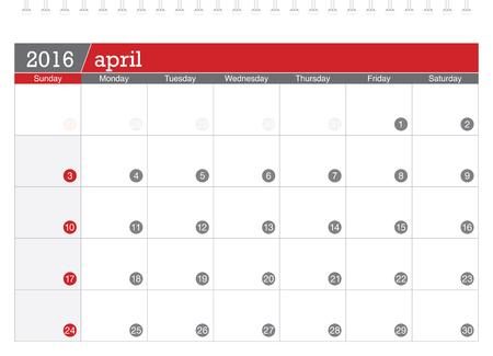4월: April 2016 planning calendar 일러스트