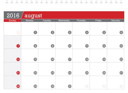 planificacion: 08 2016 calendario de planificaci�n Vectores