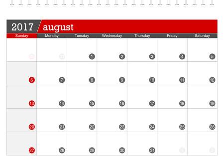 planning calendar: August 2017 planning calendar