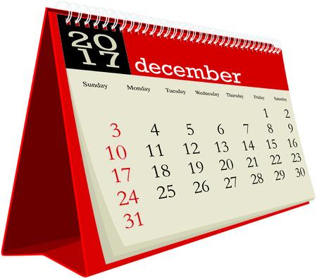 desk calendar: december 2017 desk calendar Illustration