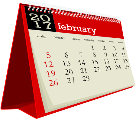 desk calendar: desk calendar 2017 february