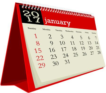 january: january 2017 desk calendar